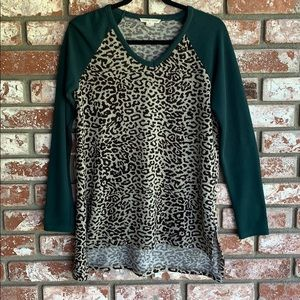 Cheetah sweater green sleeves V neck